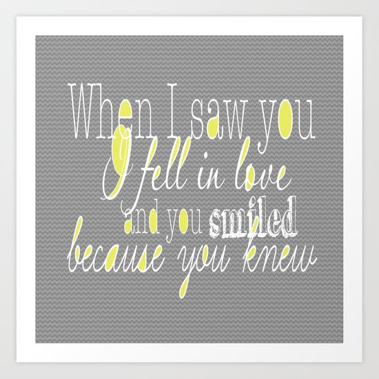 When I Saw You (Yellow) Art Print