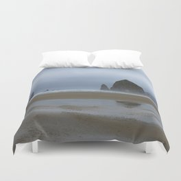 Misty Morning at Cannon Beach Duvet Cover