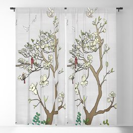 Chinoiserie Panels 1-2 Silver Gray Raw Silk - Casart Scenoiserie Collection Blackout Curtain