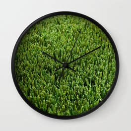 Abstract background artificial green grass Wall Clock