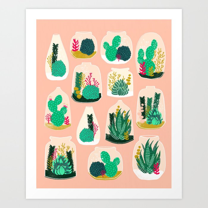 Terrariums - Cute little planters for succulents in repeat pattern by Andrea Lauren Art Print