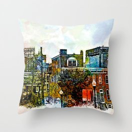 Domino Sugars Neighborhood, Locust Point, Baltimore, Maryland  Throw Pillow