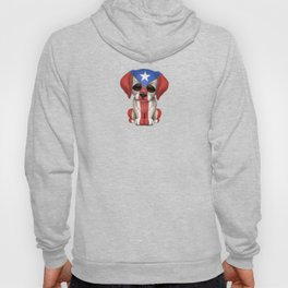 Cute Puppy Dog with flag of Puerto Rico Hoody