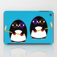 hockey iPad Cases featuring Hockey penguin by Jaxxx