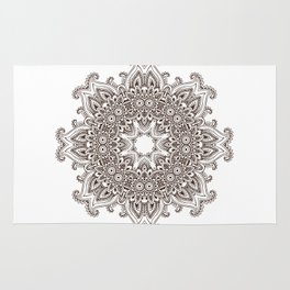 Mandala Bohemian Embellishments Decor Medallion Black on White Rug