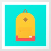 backpack Art Prints featuring Backpack by Sydney Rae Hass