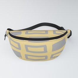 Mid Century Modern Abstract Squares Pattern 542 Gray and Yellow Fanny Pack