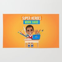 super heroes Area & Throw Rugs featuring Super Heroes Work Hard by youngmindz