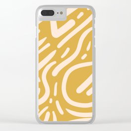 Earthy Mustard Yellow and Light Peach tribal inspired modern pattern Clear iPhone Case