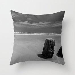 Calm beach on Assateague Island (black and white) Throw Pillow