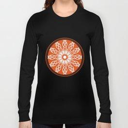 Orange flower mandala Long Sleeve T-shirt