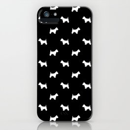 West Highland Terrier dog pattern minimal dog lover gifts black and white iPhone Case