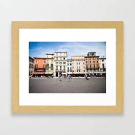 Bike Through Verona Framed Art Print