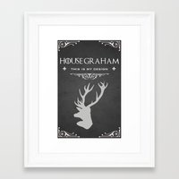 will graham Framed Art Prints featuring House Graham by Pixel Design