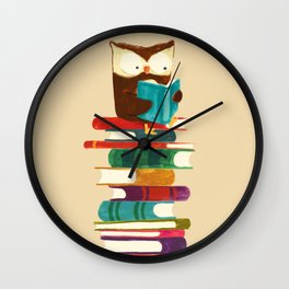 Owl Reading Rainbow Wall Clock