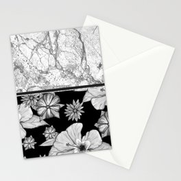Marble Grey + Floral Stationery Cards