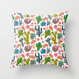 Colorful Cactus/Happy Cactus/Rainbow Cactus/Cactus painting/Cactus Patterns Throw Pillow