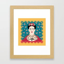 Frida Viva Cushion Yellow Framed Art Print
