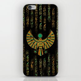 Egyptian Horus Falcon gold and color crystal iPhone Skin