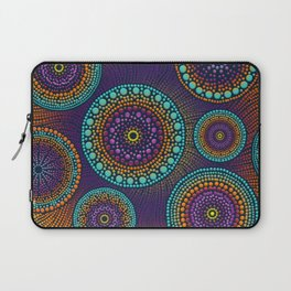 Dot Art Circles Teals and Purples #1 Laptop Sleeve