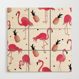 Flamingo and Pineapple Tropical Pattern Wood Wall Art
