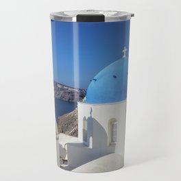 Santorini, Oia Village, Blue and White Church Travel Mug