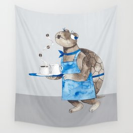 Turtle waitress coffee time Wall Tapestry