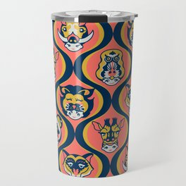 Baby Face Wearing Animal Hats Pattern - Coral Color Travel Mug