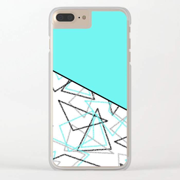 Abstract turquoise combo pattern . Clear iPhone Case