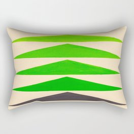 Colorful Green Geometric Triangle Pattern Rectangular Pillow