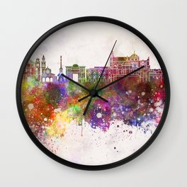 Cordoba skyline in watercolor background Wall Clock