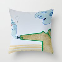 cigarette Throw Pillows featuring Cigarette by Grant Czuj