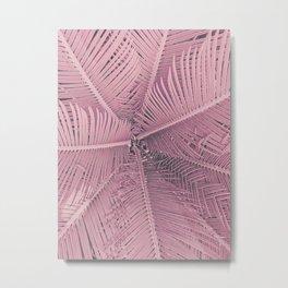 Pink Palm Leaves Metal Print