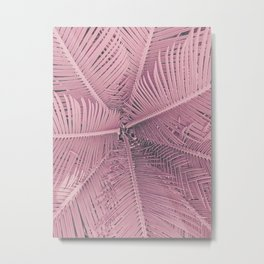 Pink Palm Leaves Urban Jungle Summer Art Metal Print