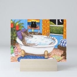 Cat in bath Mini Art Print