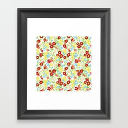 White Floral Pattern Framed Art Print
