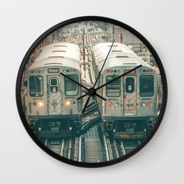 Two El Trains Above Wabash in Chicago Train Subway Elevated Wall Clock