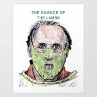 silence of the lambs Art Prints featuring The Silence of the Lambs by AdrockHoward