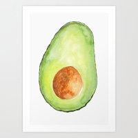 avocado Art Prints featuring Avocado by Bridget Davidson