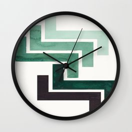 Deep Green Pattern Mid-century Modern Simple Geometric Pattern Watercolor Minimalist Art Squares Wall Clock