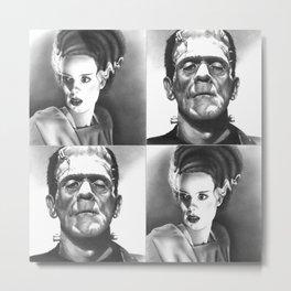 """We Belong Dead"", Frankenstein's Monster and The Bride fan art inspired by Boris Karloff & Elsa Lanchester, based on my original hand-drawn graphite illustrations Metal Print"