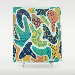 Nostalgic 90s Style Amoeba Hand Drawn Repeating Pattern Shower Curtain