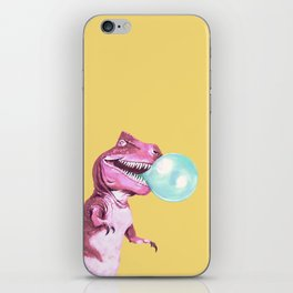 Bubble Gum Pink T-rex in Yellow iPhone Skin