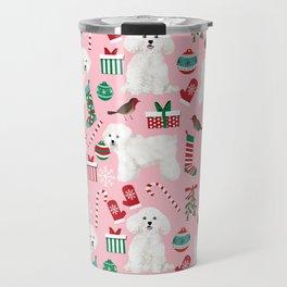 Bichon Frise pink christmas holiday themed pattern print pet friendly dog breed gifts Travel Mug