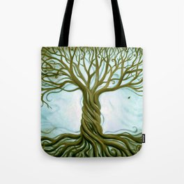 Blue and Brown Swirly Tree of Life by Renee Womack Tote Bag