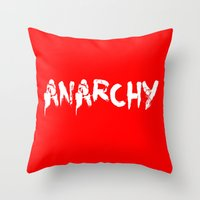 sons of anarchy Throw Pillows featuring ANARCHY by lucborell