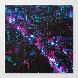 Cyberpunk Vaporwave City Canvas Print