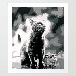 british shorthair cat ready to attack vector art black white Art Print