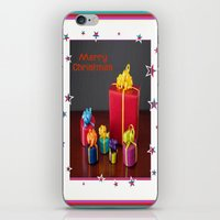 gift card iPhone & iPod Skins featuring Merry Christmas Gift Boxes Holiday Card  by taiche