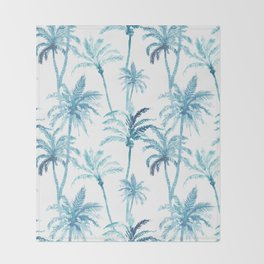 Blue watercolor palm trees Throw Blanket